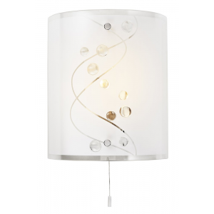 Contemporary White Glass and Clear Glass Beaded Wall Light with Pull Switch