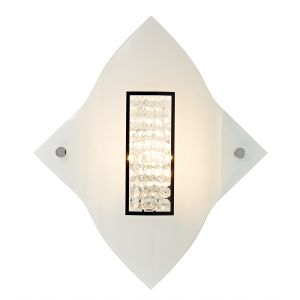 Modern Curvy Glass Wall Light Fitting with Transparent Crystal Beads