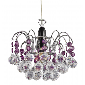 Modern Waterfall Pendant Light Shade with Clear/Purple Acrylic Decor