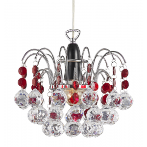 Modern Waterfall Pendant Light Shade with Clear/Red Acrylic Decor