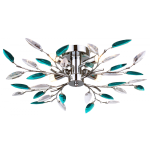 Modern Semi Flush Chrome Ceiling Light with Teal Acrylic Leaves