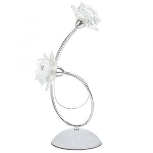 Designer Modern Polished Chrome Metal Table Lamp with Floral Glass Shades