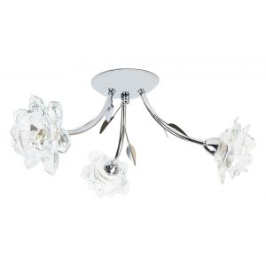 Designer 3 Arm Polished Chrome Ceiling Light Fitting with Floral Glass Shades