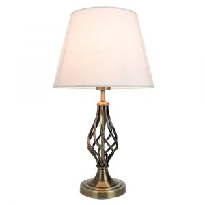 Traditional Antique Brass Table Lamp with Barley Twist Base and Linen Shade
