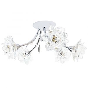 Designer 5 Arm Polished Chrome Ceiling Light Fitting with Floral Glass Shades