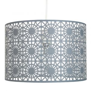 Modern Grey Fabric Geometric Design Easy Fit Ceiling Pendant Light Drum Shade