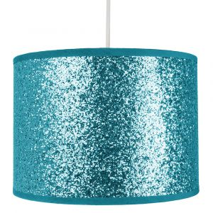 Modern and Designer Bright Teal Glitter Fabric Pendant/Lamp Shade 25cm Wide