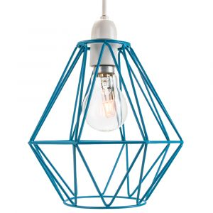 Industrial Basket Cage Designed Matt Teal Metal Ceiling Pendant Light Shade