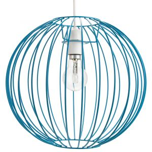 Industrial Basket Globe Cage Design Matt Teal Metal Ceiling Pendant Light Shade