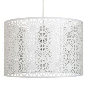 Modern White Fabric Geometric Design Easy Fit Ceiling Pendant Light Drum Shade