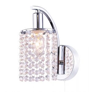 Modern Pull Switched Chrome Plated Wall Light Fitting with Crystal Glass Beads