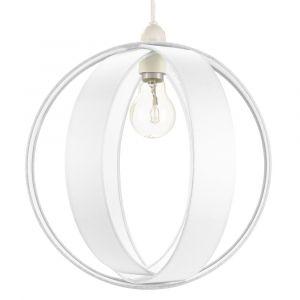 Modern White Faux Silk Fabric Cocoon Globe Design Ceiling Pendant Light Shade