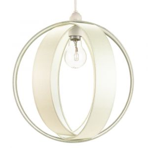 Modern Cream Faux Silk Fabric Cocoon Globe Design Ceiling Pendant Light Shade