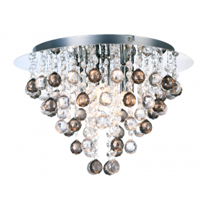 Modern Chrome Chandelier with Clear and Smoked Acrylic Spheres
