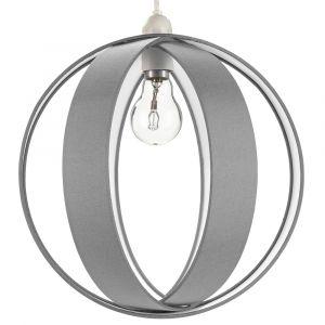 Modern Grey Faux Silk Fabric Cocoon Globe Design Ceiling Pendant Light Shade