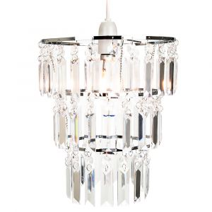 Modern 3-Tier Clear Acrylic and Chrome Metal Easy Fit Pendant Lighting Shade