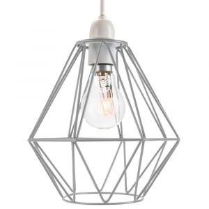 Industrial Basket Cage Designed Matt Grey Metal Ceiling Pendant Light Shade