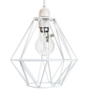 Industrial Basket Cage Designed Matt White Metal Ceiling Pendant Light Shade