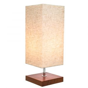 Traditional and Classic Square Wooden Table Lamp with Oatmeal Linen Fabric Shade