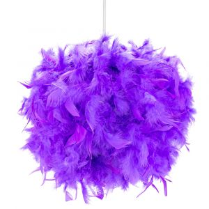Eye-Catching and Designer Small Purple Feather Decorated Pendant Lighting Shade