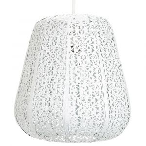 Traditional Moroccan Styled Easy Fit Pendant Light Shade in White Gloss Finish