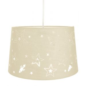 Fun Rockets and Stars Childrens/Kids Cream Cotton Bedroom Pendant or Lamp Shade