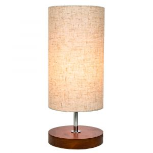 Traditional and Classic Round Wooden Table Lamp with Oatmeal Linen Fabric Shade
