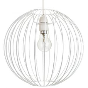 Industrial Basket Globe Cage Design Matt White Metal Ceiling Pendant Light Shade