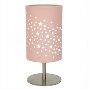 Beautiful Stars Decorated Children/Kids Soft Pink Cotton Bedside Table Lamp