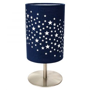 Beautiful Stars Decorated Children/Kids Midnight Blue Cotton Bedside Table Lamp