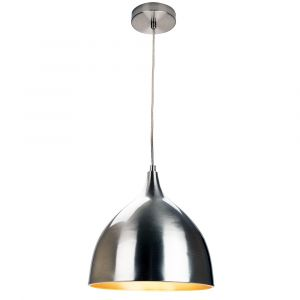Contemporary and Stylish Satin Nickel Pendant Ceiling Light Fitting 25cm Width