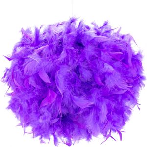 Contemporary and Unique Large Purple Real Feather Decorated Pendant Light Shade