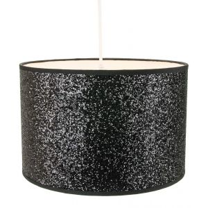 Modern and Designer Bright Black Glitter Fabric Pendant/Lamshade 25cm Wide