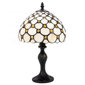 Traditional Amber Stained Glass Tiffany Table Lamp with Multiple Circular Beads