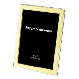 """Quality Shiny Brass Plated Contemporary 5"""" x 7"""" Single Picture Photo Frame"""