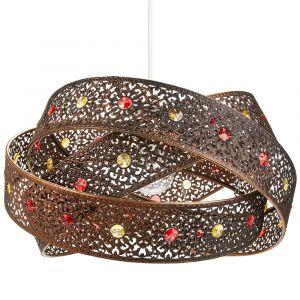 Antique Bronze Acrylic Gem Moroccan Style Triple Ring Pendant Lighting Shade