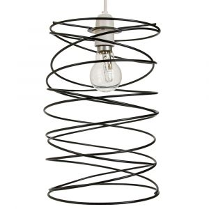 Contemporary Matt Black Metal Double Wire Spiral Swirl Ceiling Light Pendant