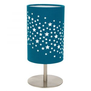 Beautiful Stars Decorated Children/Kids Bright Teal Cotton Bedside Table Lamp