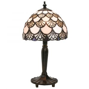 Modern Opal White Tiffany Lamp with Scalloped Sections in Clear and Blue/Green