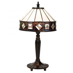 Modern Designer Tiffany Table Lamp with Amber and Purple Stained Glass Trim