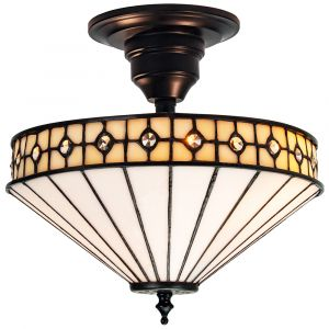 Modern Opal White Tiffany Glass Ceiling Light with Small Circular Clear Beads