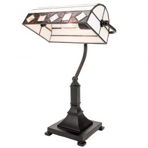 Modern Designer Tiffany Bankers Lamp with Amber and Purple Stained Glass Parts