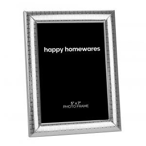 """Modern Silver Plated Metal 5"""" x 7"""" Picture Frame with Etched Squares Design"""