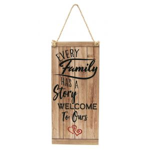 Quirky and Cute Our Family Vintage Rustic MDF Hanging Plaque with Rope