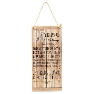 Beautifully Designed 25th Anniversary Vintage MDF Hanging Plaque with Rope