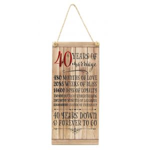 Beautifully Designed 40th Anniversary Vintage MDF Hanging Plaque with Rope