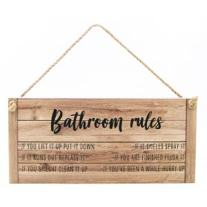 Quirky and Funny Bathroom Rules Vintage Rustic MDF Hanging Plaque with Rope