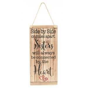 Sisters Will Always be Connected Vintage Rustic MDF Hanging Plaque with Rope