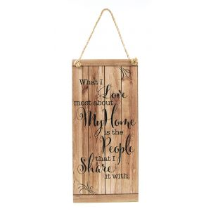 Quirky and Cute My Home Vintage Rustic MDF Hanging Plaque with Rope