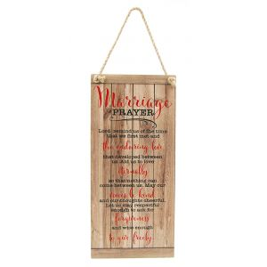Marriage Prayer Inspiring Quote Vintage Rustic MDF Hanging Plaque with Rope